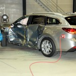 Et defekt dørhængsel trækker ned, men ellers klarer Mazda 6 crashtesten perfekt.