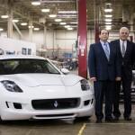 Trekløveret Villarreal, Lutz og Fisker står bag det nye bilmærke VLF. Den hvide Destino er en Fisker Karma, der har skiftet hybridteknikken ud med en Corvette-motor.