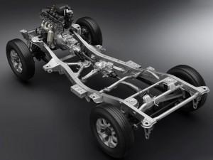 Stiv chassisramme og ditto bagaksel samt reduktionsgear skal sikre Jimny klatreegenskaber i særklasse.
